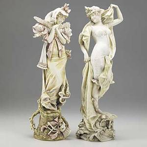 Riessner stellmacher  kessel two porcelain amphora maiden figures early 20th c red r st k taller 17