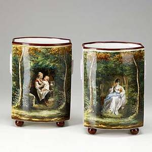 Pair of old paris porcelain vases handpainted scenes of women with babies in landscape button feet 19th c 11 14