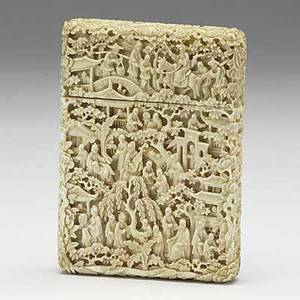 Ivory card case profusely carved with figures and trees on all sides 19th c 4 78 x 3 12