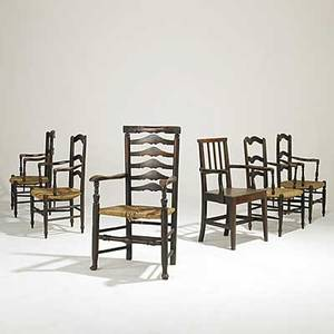 Six english chairs set of four rush seat ladderback armchairs armchair with queen anne pad feet and straightback armchair early 19th c mixed woods tallest 41 x 23 x 18 12