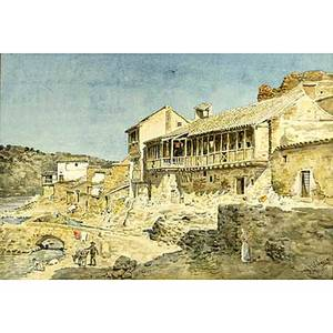 German valdecara italian b 1849 watercolor on paper of an italian village framed signed g valdecara 1880 13 12 x 20 sight