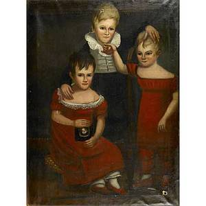 Early 19th c portrait oil on canvas of three children 48 x 36
