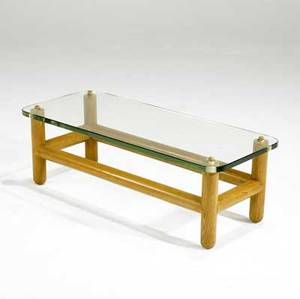 Modern oak coffee table with glass top 12 x 37 12 x 15 34