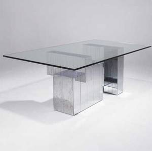 Style of paul evans dining table with rectangular plate glass top resting on base with symmetrical chome panels 29 12 x 84 x 42