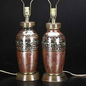 Camille tharaud for limoges pair of art deco vases drilled and fitted as lamps each signed c tharaud vase 12 x 5