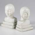 French art deco bust shaped stoneware bookends 6 12 x 4 14 x 2 12