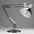 Luxo pair of bright chrome desk lamps with plastic diffusers on adjustable arms and weighted bases stamped luxo shade 8 12 x 8 base 9 14 dia