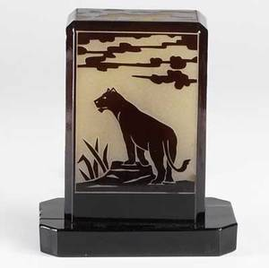 Bellova art deco style panel lamp decorated with a pride of lions 1984 marked bellova czechoslovakia 9 12 x 7 34 x 4 12