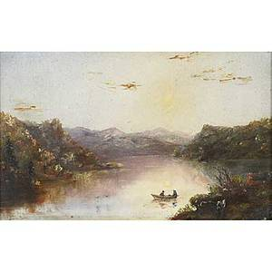 Ha parsons american 19th c oil on panel hudson river north of west point framed signed ha parsons 1876 6 12 x 9 12 together with a 20th c oil on canvas of a moonlit harbor fra