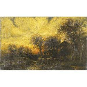 Two 19th c landscapes oil on canvas of a twilight landscape with horse and figures framed 15 x 24 oil on canvas of an autumn landscape framed 9 x 12