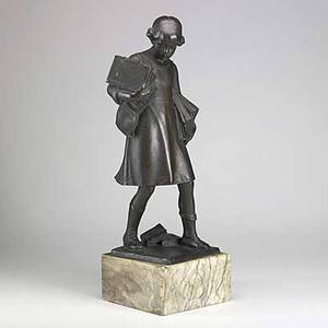 Victor seifert german b 1870 bronze statue of a girl carrying books on square marble base 19th20th c signed prof vk seifert 27