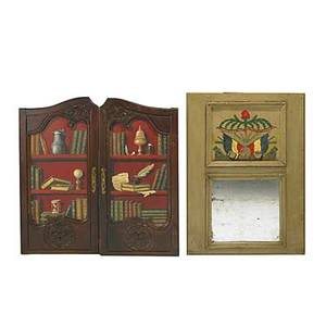 Trumeau mirror reversepainted top together with a pair of armoire doors decorated with library scene 19th c mirror 43 x 30 12