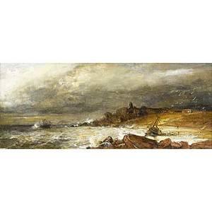 Alexander leggett british 18221884 oil on board of a rocky coast framed signed a leggett 6 x 14