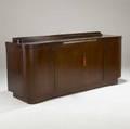 Deutsche wk moebel art deco sideboard in walnut with four doors concealing drawers and adjustable shelves in birch metal tag 36 x 86 x 25