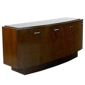 Gilbert rohde  herman miller mahogany burled walnut and rosewood fourdoor sideboard with steel pulls with interior divided sliding shelves lined in cork and felt 33 x 72 x 21