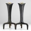 Donald deskey  bennett pair of brass and enameled cast iron andirons 15 x 8 x 17 12