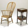 English windsor chair together with english mahogany night stand one drawer glass vitrine top 19th c chair 41 x 23 x 26