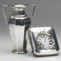 English silver two pieces 20th c edwardian twohandled vase by goldsmiths  silversmiths co ltd london 1902 106 ot 7 mappin  webb 2 34 d clock pinset stem wound in silverfaced st