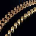 Two mens gold link bracelets reticulated italian 14k yg square link together with a 14k rose gold 517 gs tw each 7 12