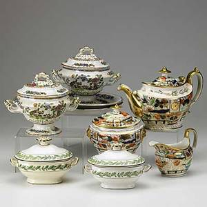 Nine pieces of ironstone pair of copeland  garrett tureens with underplates three piece gaudy type tea set and pair of wedgwood sauce tureens 19th c largest 10 12 x 5 x 7