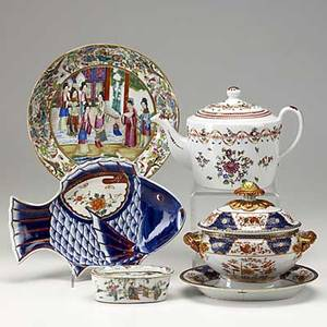 Five pieces of asian porcelain famille rose bowl bulb pot chinese export teapot sauce tureen and underplate and japanese imari fishshaped plate 19th c largest 9 34 x 1 12