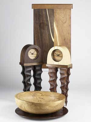 Contemporary craft john sage turned wood bowl john sage charger in asfound condition pair of stedman fine woodworking table clocks and a decorative wood tray most marked bowl 4 14 x 14 dia