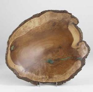 Stan katz turned wood freeedge bowl with occlusions filled with turquoise epoxy signed and numbered 2 of 95 3 12 x 15 x 16