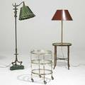 Decorative grouping three pieces 20th c bronze base bridge lamp combination floortable lamp and 3tiered glass table tallest 56 12