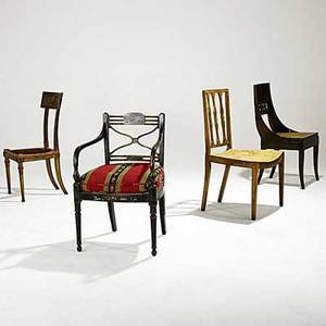 Furniture grouping four pieces regency ebonized cane seat armchair and three sidechairs all 19th c largest 20 x 7 x 32 12
