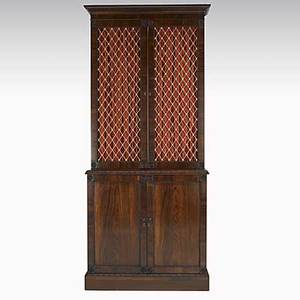 English twopiece china cabinet rosewood 19th20th c 30 12 x 16 x 90