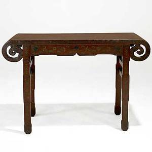 Chinese altar table red lacquer with asian scenes 19th c 48 x 17 x 31 34