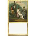 French trumeau mirror oil painting quand le bien aime reviendra 19th c 29 12 x 51