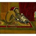 19th c animal painting oil on board of a monkey with cat framed 15 x 13