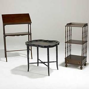 Furniture grouping three pieces 19th20th c tole tray table dictionary stand and small tiered whatnot largest 25 x 10 12 x 41