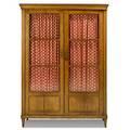 Biedermeier cabinet two doors mullioned glass panels 19th c 45 12 x 14 14 x 63 12