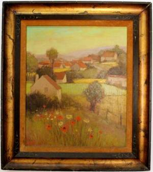 Ronald Greg Landscape with Houses Oil on Canvas