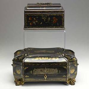 Two asian black lacquer boxes one fitted as a jewelry box the other a sewing box 19th c 13 12 x 9 x 5 34