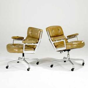 Charles  ray eames for herman miller pair of rolling timelife armchairs each with herman miller label 33 x 29 x 27