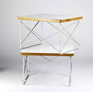 Charles  ray eames for herman miller ltrs with white laminate tops over wire bases each 10 x 13 x 15 12