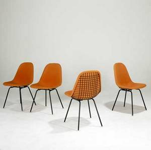 Charles  ray eames for herman miller set of four metal wire side chairs with wool upholtery marked with fabric label 33 x 19 x 21