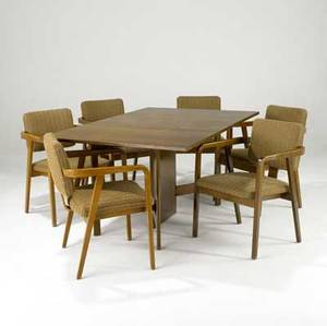 George nelson  herman miller walnut gateleg dining table with six armchairs some with circular metal herman miller tags table open 29 12 x 65 x 40 chairs 33 14 x 23 x 22