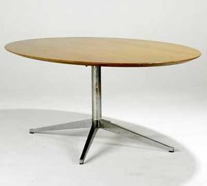 Knoll oval conference table with teak top and chrome base knoll tag 78 x 48 x 28 12
