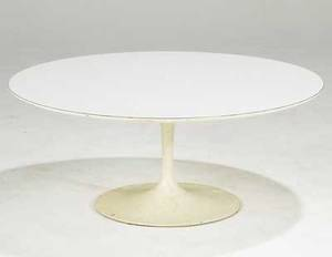 Eero saarinen for knoll tulip coffee table with laminate top on painted steel base knoll associated label 15 x 36 dia