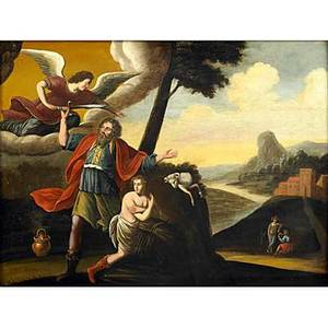 19th c religious painting oil on wood panel of an angel bestowing a sword framed 25 12 x 19 14