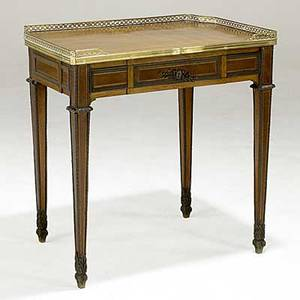 French side table parquetry inlay bronze mounts gallery top 19th c 27 x 19 x 28