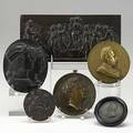 Six bronze medals military classical and religious themes 19th c largest 9 12 x 4 12
