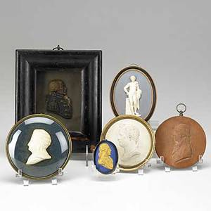 Six cameos or relief carvings wax profile of military officer gilded cameo of george washington relief plaque of classical male nude and others 19th20th c largest 5 34 x 6 34