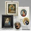Five religious miniature paintings three on ivory two on porcelain 19th20th c largest 6 x 6 12
