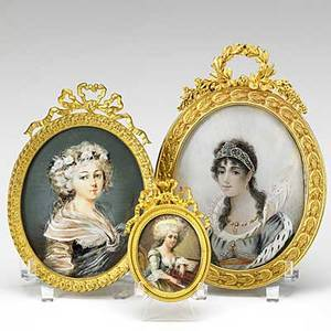 Three miniature paintings on ivory all of women 20th c gilt metal frames artist signed largest 4 38 x 6