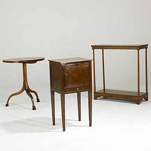 Furniture grouping three pieces 19th c english mahogany bedside stand mahogany console and oval candlestand largest 31 14 x 12 12 x 33 14